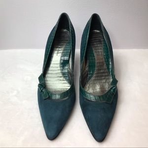 Banana Republic -Emerald Green Suede Leather Heels